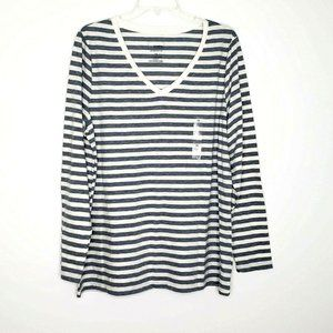 Sonoma The Everyday Tee NEW Gray Striped 1X